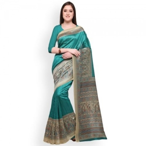 138e75f2142e6 Buy Mirchi Fashion Green Woven Design Poly Chiffon Saree online ...