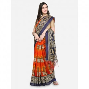 Blissta Navy Blue & Orange Art Silk Printed Mysore Silk Saree