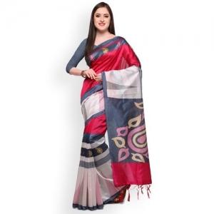 03c790128 Buy Ishin Red   Brown Art Silk Printed Mysore Silk Saree online ...