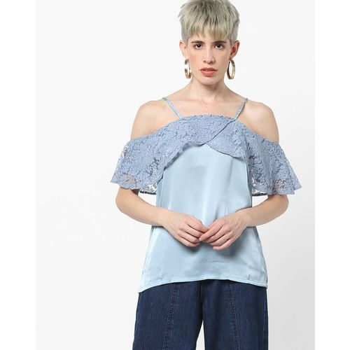 b9fa9aeac74 Buy Kazo Cold-Shoulder Top with Lace Panel Overlay online ...
