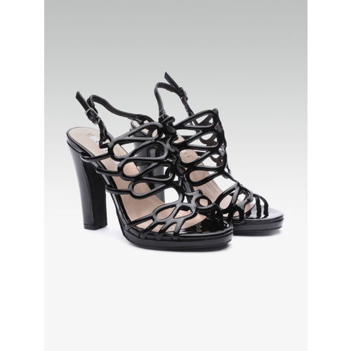 Elle Women Black Cut-Out Stilettos