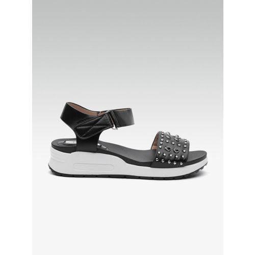 Elle Women Black Studded Sandals
