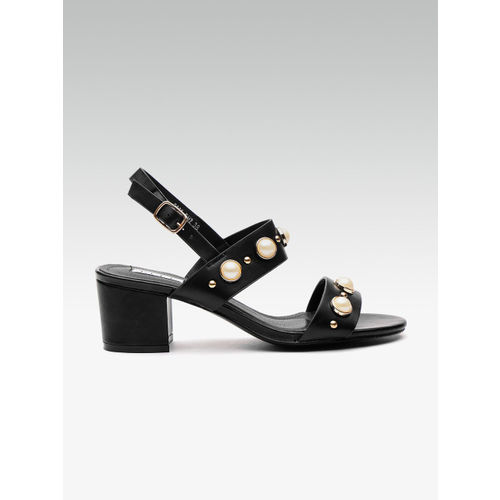 Elle Women Black Embellished Block Heels