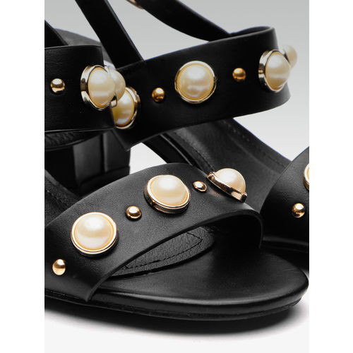 Elle Women Black Embellished Block Heels