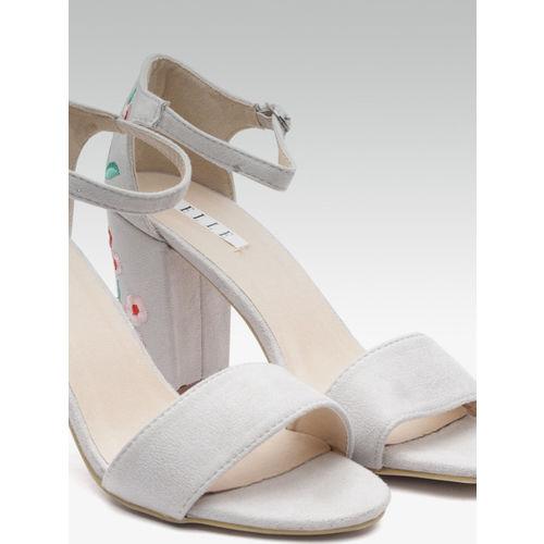 Elle Women Grey Block Heels with Woven Design Detail