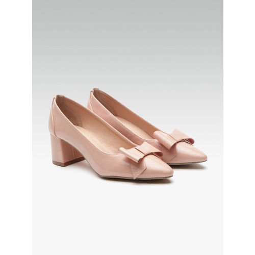 Elle Women Peach-Coloured Solid Bow Detail Pumps