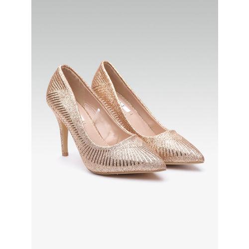 Elle Women Rose-Gold Toned Embellished Solid Pumps