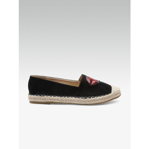 Elle Women Black Sequinned Espadrilles