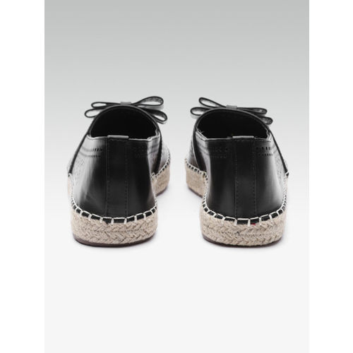 Elle Women Black Perforated Espadrilles with Bow Detail