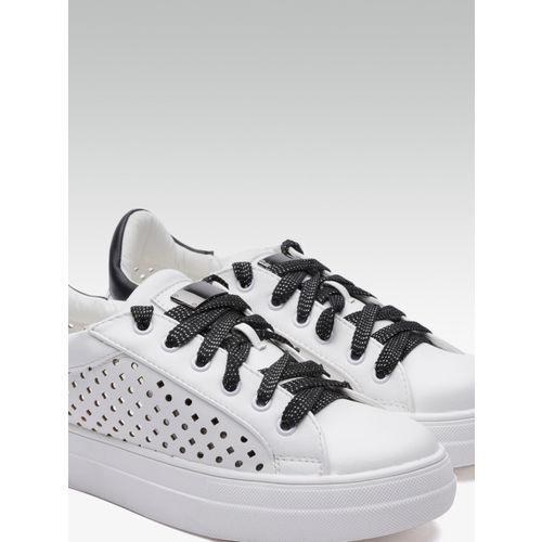 Elle Women White Laser-Cut Sneakers