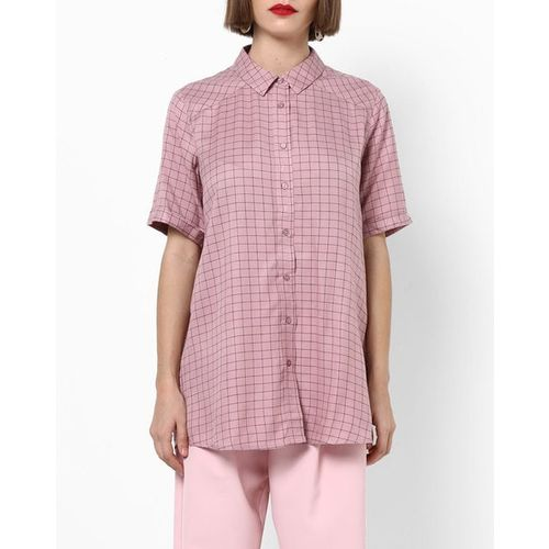 PROJECT EVE WESTERN WEAR Checked Top with High-Low Hemline