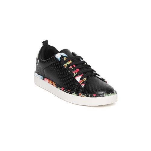 Elle Women Black Textured Sneakers