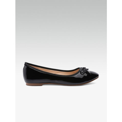 Elle Women Black Solid Ballerinas with Bow Detail