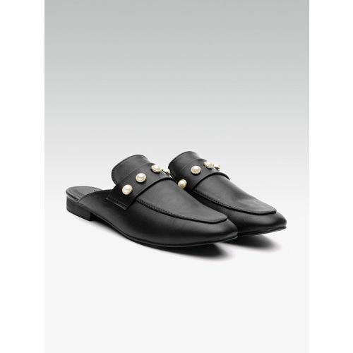 Elle Women Black Solid Mules