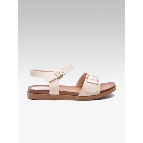 Elle Women Beige Solid Open Toe Flats