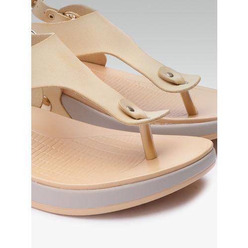 Elle Women Beige Solid T-Strap Flats