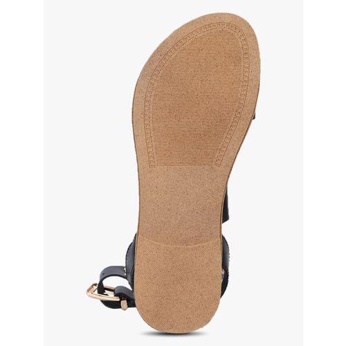 Elle Black Open Toe Flats Sandals
