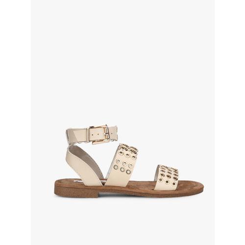 Elle Beige Open Toe Flats Sandals