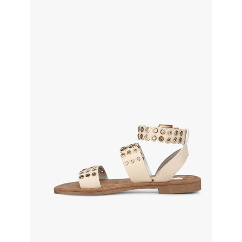 Elle Beige Open Toe Flats Sandals