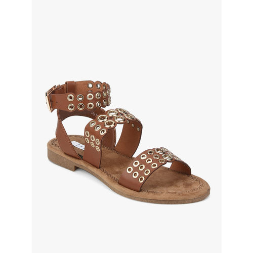 Elle Brown Open Toe Flats Sandals