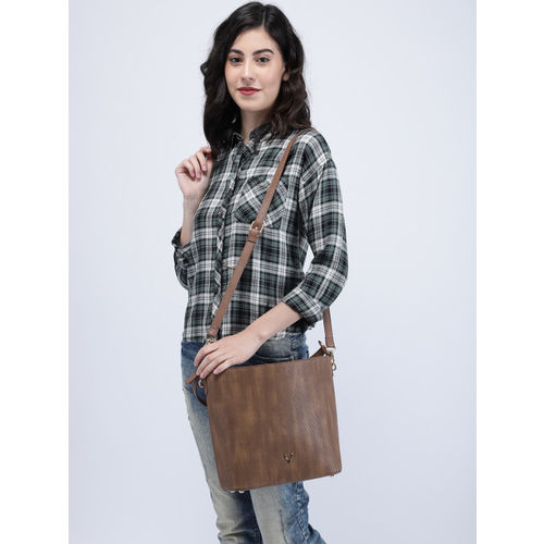 Allen Solly Brown Textured Shoulder Bag