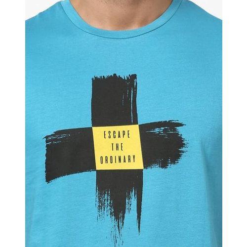 AJIO Slim Fit Printed Crew-Neck T-shirt