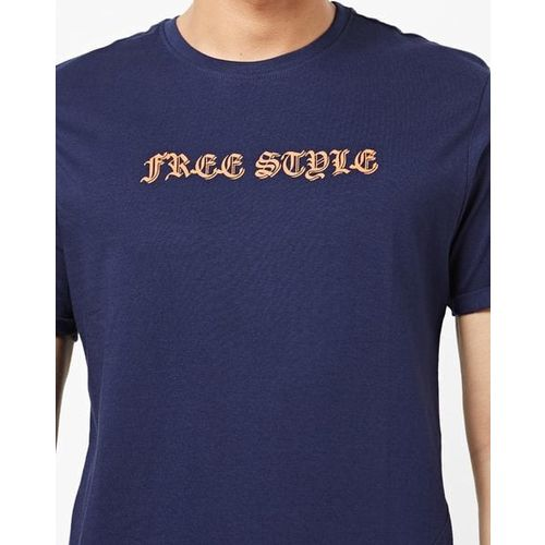 AJIO Crew-Neck Slim Fit T-shirt with Placement Print