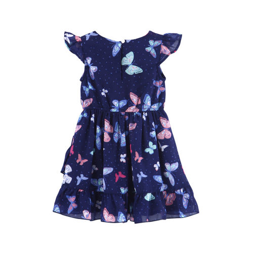 Beebay Girls Navy Blue Printed Fit and Flare Dress