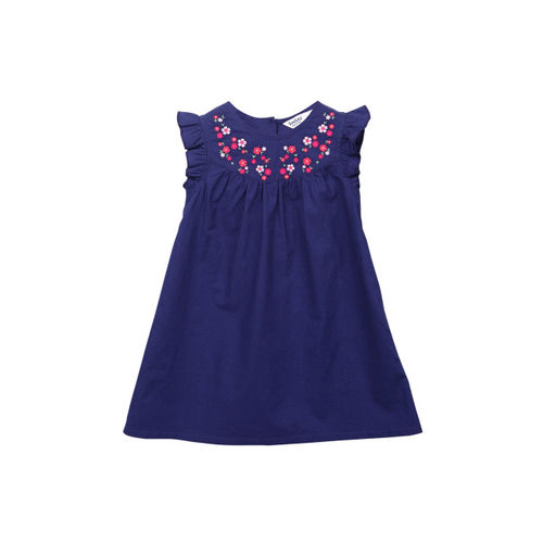 Beebay Girls Navy Blue Embroidered Fit and Flare Dress
