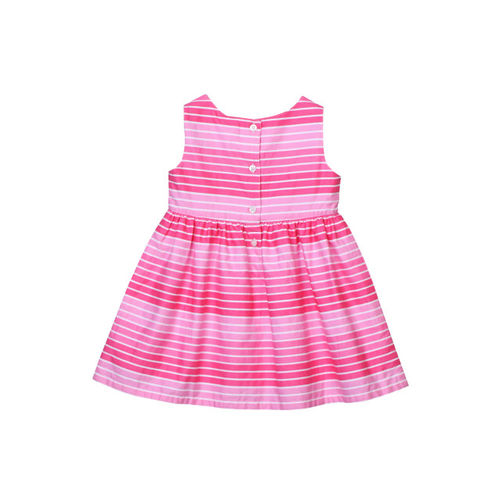 Beebay Girls Pink & White Striped Fit and Flare Dress