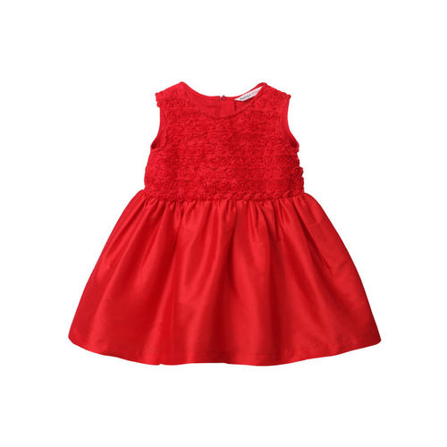 Beebay Girls Red Self Design Fit and Flare Dress