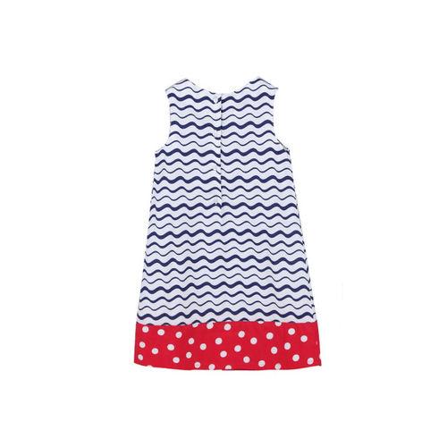 Beebay Girls White & Navy Printed A-Line Dress