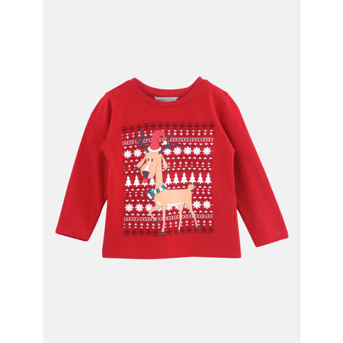 Beebay Reindeer Print Full Sleeve T-Shirt for Boys