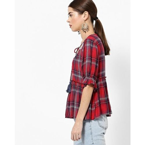 Rena Love Checked Top with Floral Embroidery