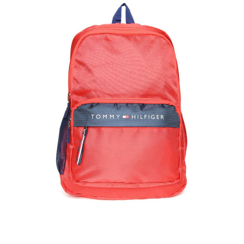 Tommy Hilfiger Men Red Solid Laptop Backpack