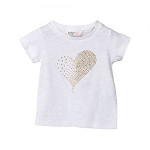 Beebay Girls Golden Heart T-Shirt (White)