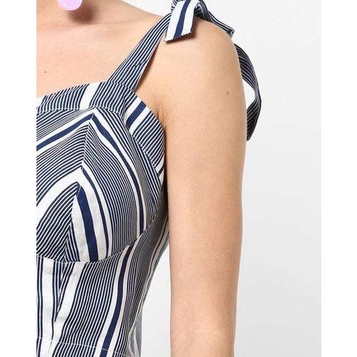 AJIO Striped Crop Top with Tie-Up Straps