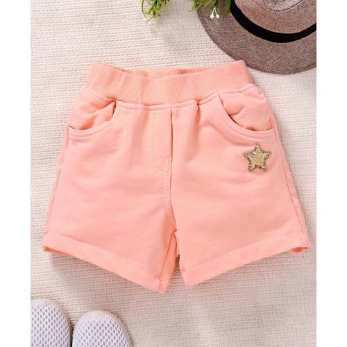 Little Kangaroos Elastic Waist Shorts Star Patch - Peach