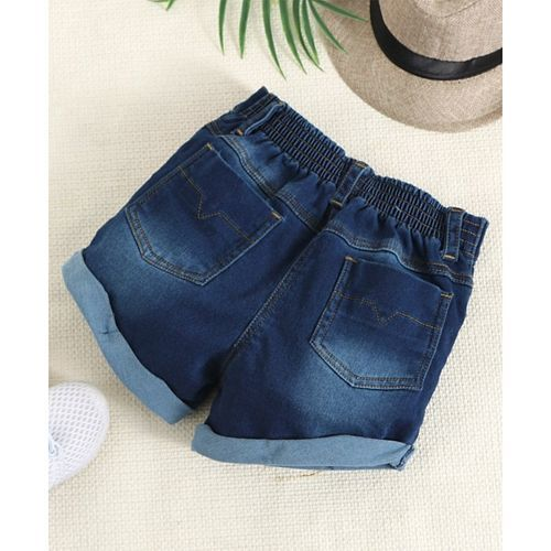 Little Kangaroos Denim Shorts Studded Detailing - Blue