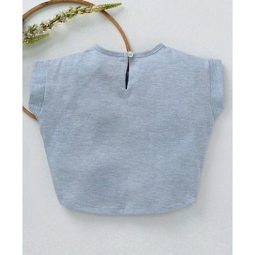 Little Kangaroos Short Sleeves Party Top Tassel Detail & Text Print - Sky Blue