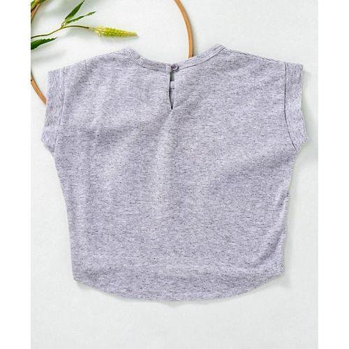 Little Kangaroos Short Sleeves Party Top Tassel Detail & Text Print - Grey