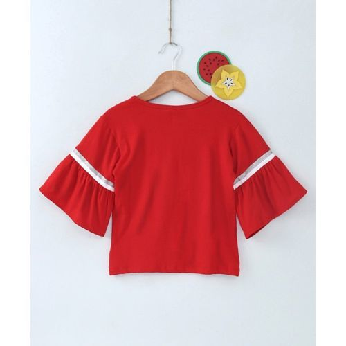 Little Kangaroos Three Fourth Bell Sleeves Heart Patch Top - Red