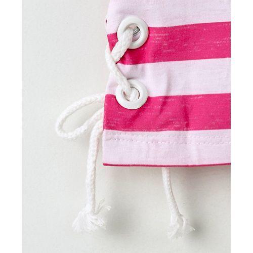 Little Kangaroos Flutter Sleeves Crop Top Stripes Print - Pink