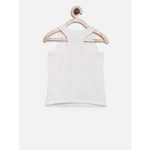The Childrens Place Girls White Printed Tank Top