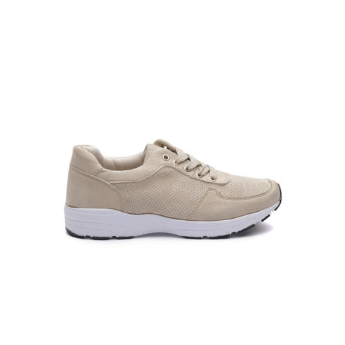 ether Women Beige Perforated Sneakers