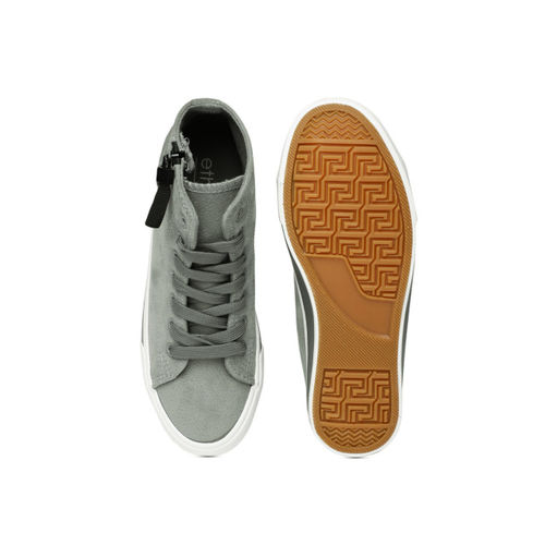 ether Women Grey Solid Synthetic Mid-Top Sneakers