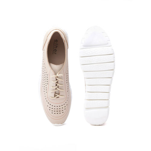 ether Women Beige Sneakers with Laser Cuts