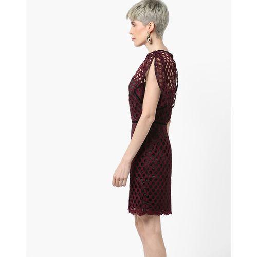 Kazo Laser-Cut Sheath Dress with Slit Sleeves