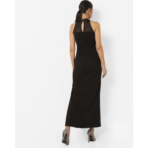 Kazo Embellished High-Neck Gown with Slit