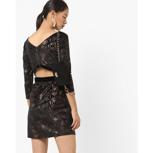 Kazo Reptilian Print Sheath Dress with Back Cutout